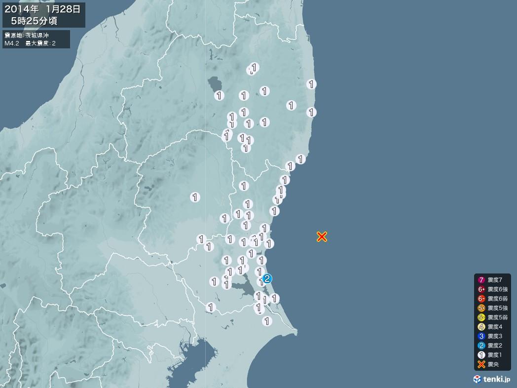 地震情報 2014年01月28日 05時25分頃発生 最大震度:2 震源地:茨城県沖(拡大画像)