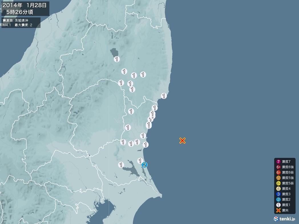 地震情報 2014年01月28日 05時26分頃発生 最大震度:2 震源地:茨城県沖(拡大画像)