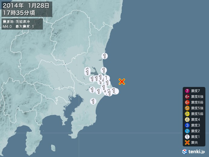 地震情報(2014年01月28日17時35分発生)