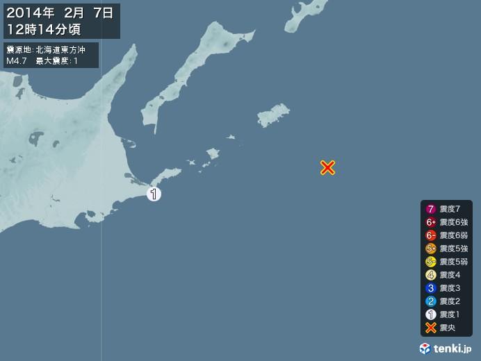 地震情報(2014年02月07日12時14分発生)