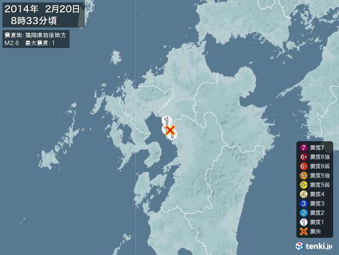 地震情報(2014年02月20日08時33分発生)