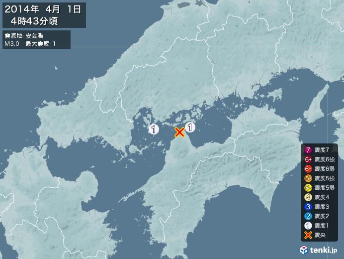 地震情報(2014年04月01日04時43分発生)