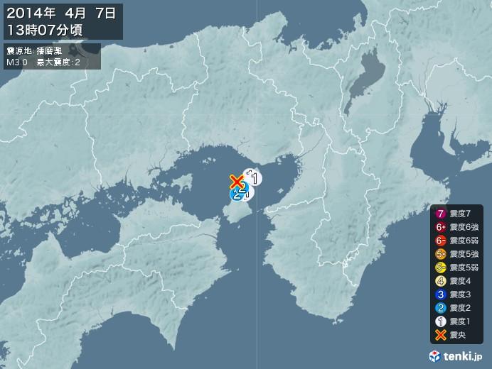 地震情報(2014年04月07日13時07分発生)