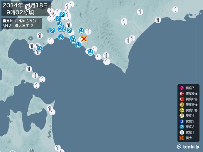 地震情報(2014年04月18日09時02分発生)