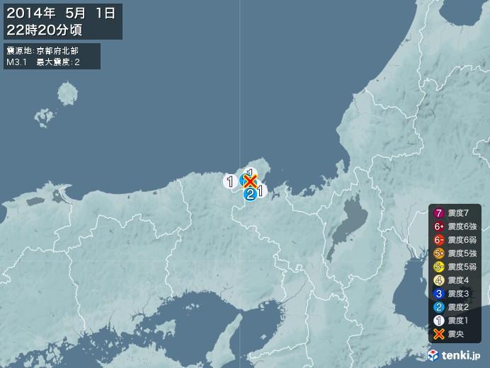 地震情報(2014年05月01日22時20分発生)