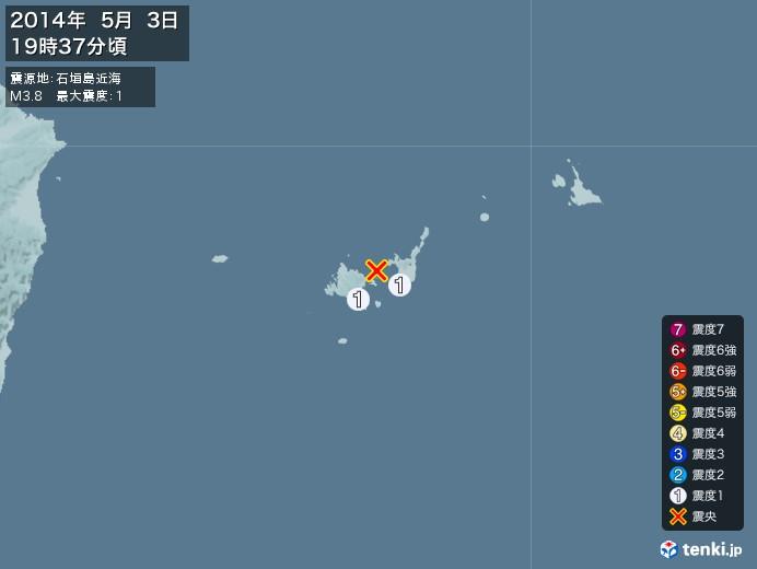 地震情報(2014年05月03日19時37分発生)
