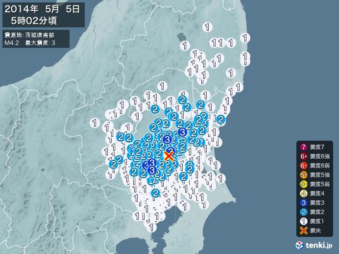 地震情報(2014年05月05日05時02分発生)
