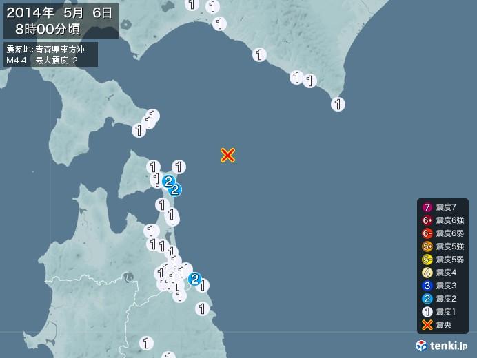 地震情報(2014年05月06日08時00分発生)