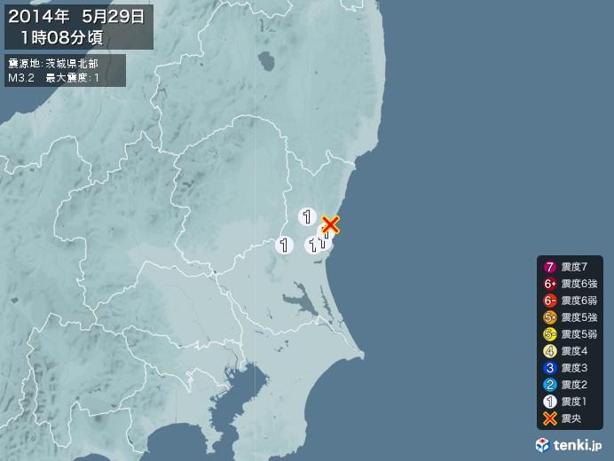 地震情報(2014年05月29日01時08分発生)