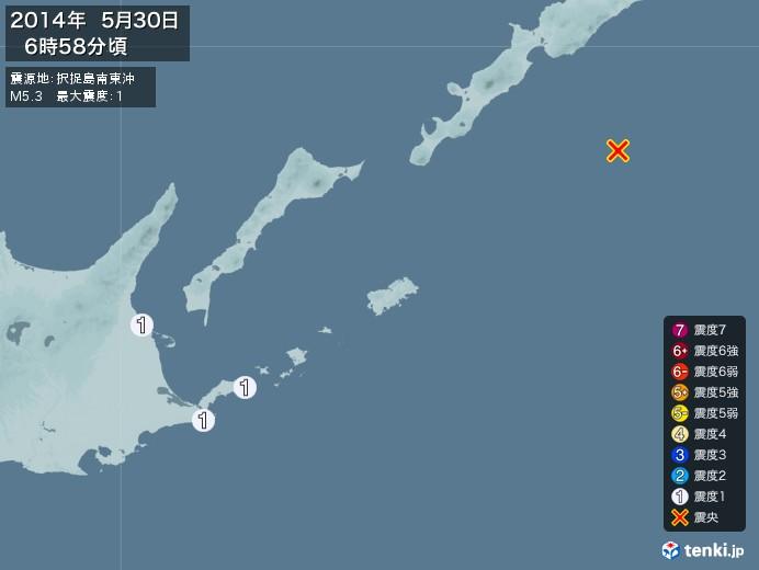 地震情報(2014年05月30日06時58分発生)
