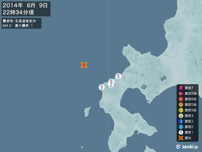 地震情報(2014年06月09日22時34分発生)