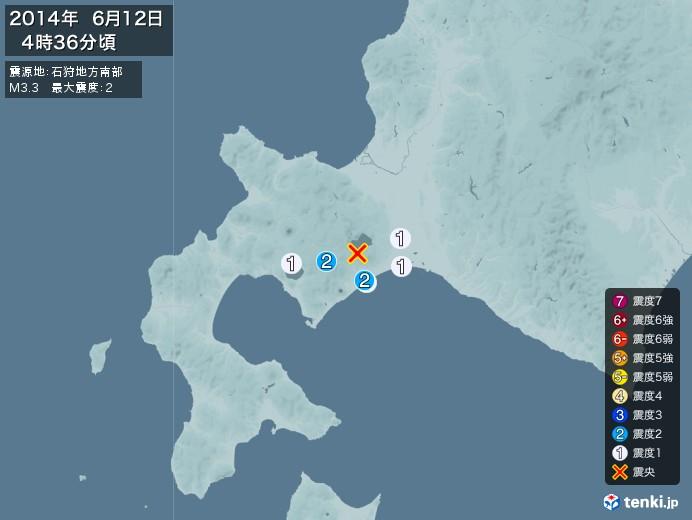 地震情報(2014年06月12日04時36分発生)