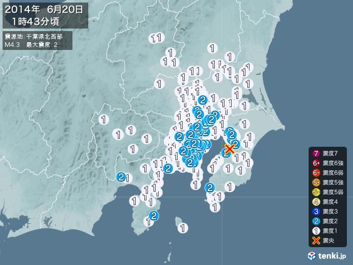 地震情報(2014年06月20日01時43分発生)