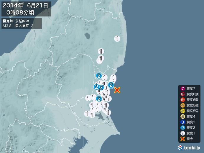 地震情報(2014年06月21日00時08分発生)