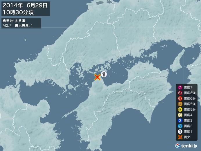 地震情報(2014年06月29日10時30分発生)