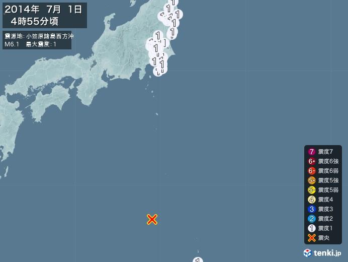 地震情報(2014年07月01日04時55分発生)