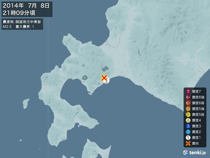 地震情報(2014年07月08日21時09分発生)