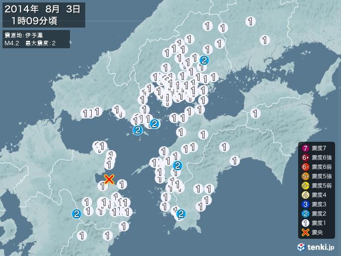地震情報(2014年08月03日01時09分発生)
