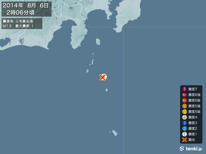地震情報(2014年08月06日02時06分発生)
