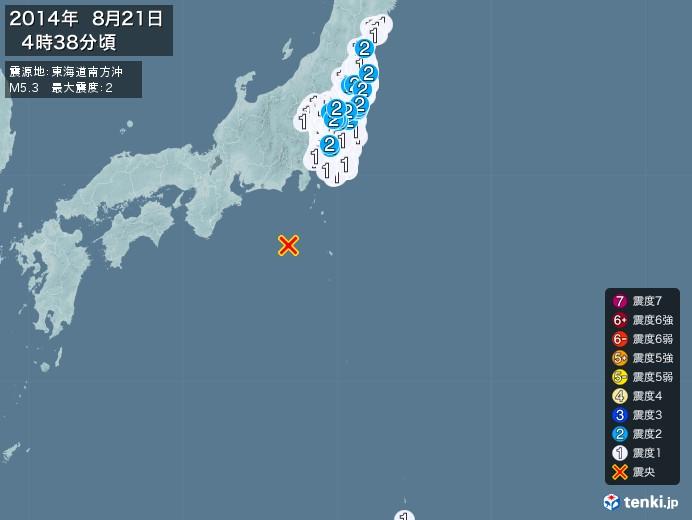 地震情報(2014年08月21日04時38分発生)