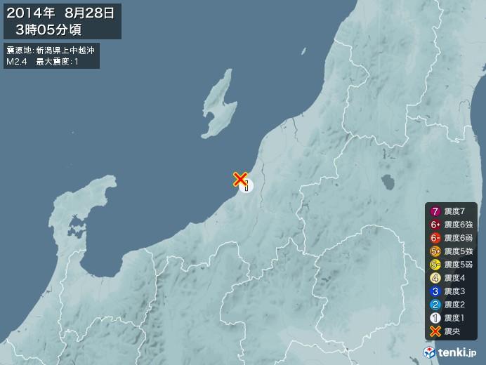 地震情報(2014年08月28日03時05分発生)