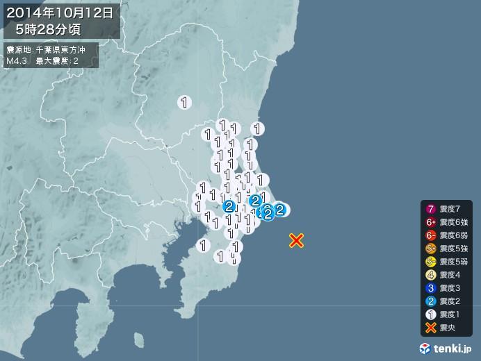 地震情報(2014年10月12日05時28分発生)
