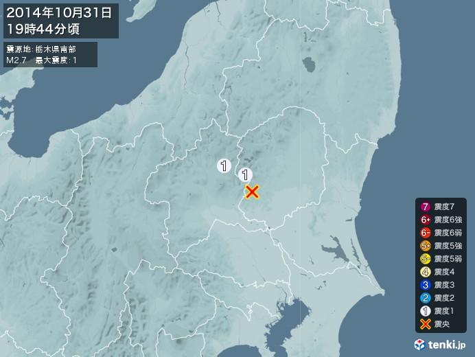 地震情報(2014年10月31日19時44分発生)