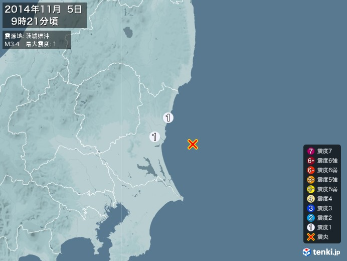 地震情報(2014年11月05日09時21分発生)