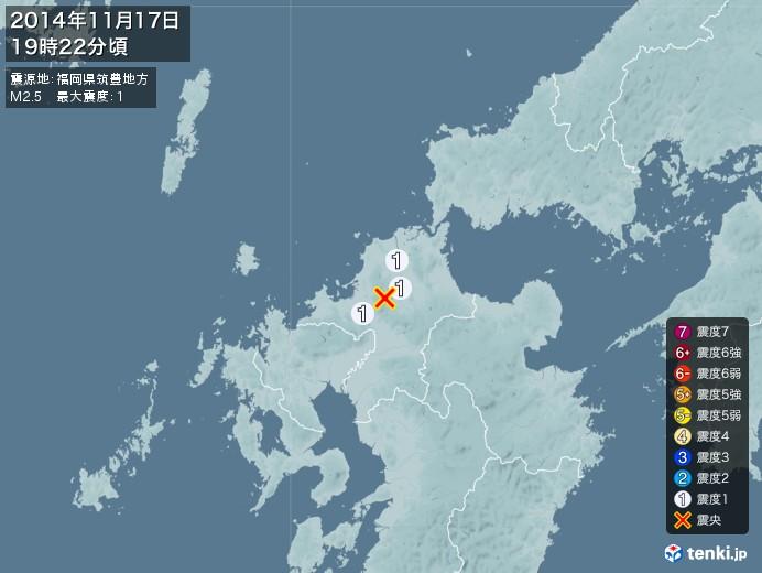 地震情報(2014年11月17日19時22分発生)