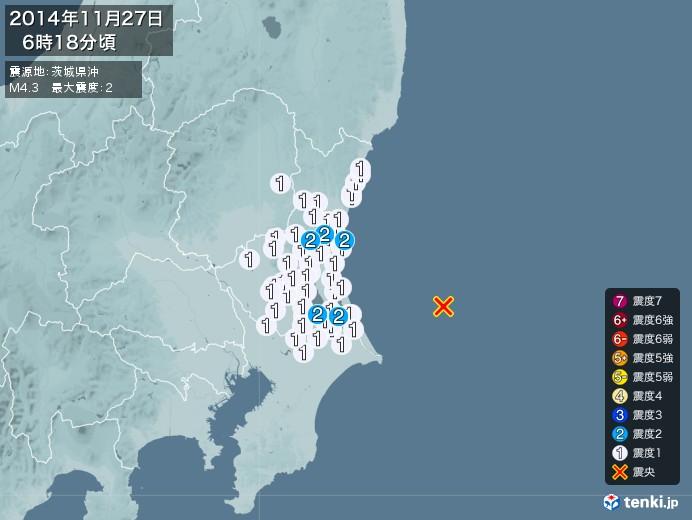 地震情報(2014年11月27日06時18分発生)