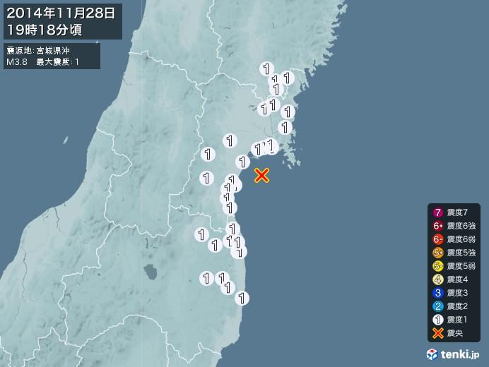 地震情報(2014年11月28日19時18分発生)