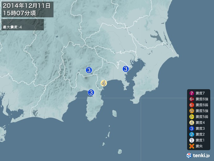 地震情報(2014年12月11日15時07分発生)