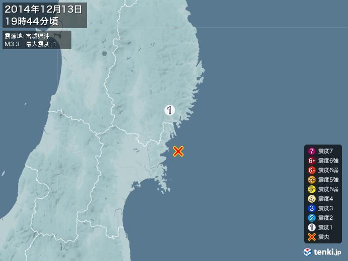 地震情報(2014年12月13日19時44分発生)