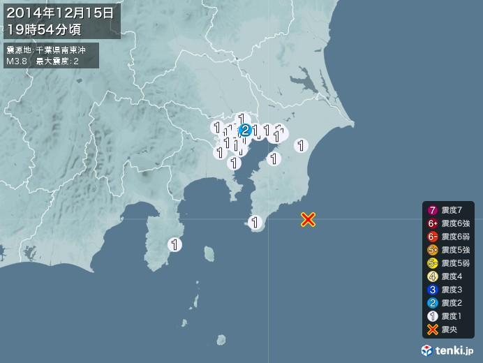 地震情報(2014年12月15日19時54分発生)