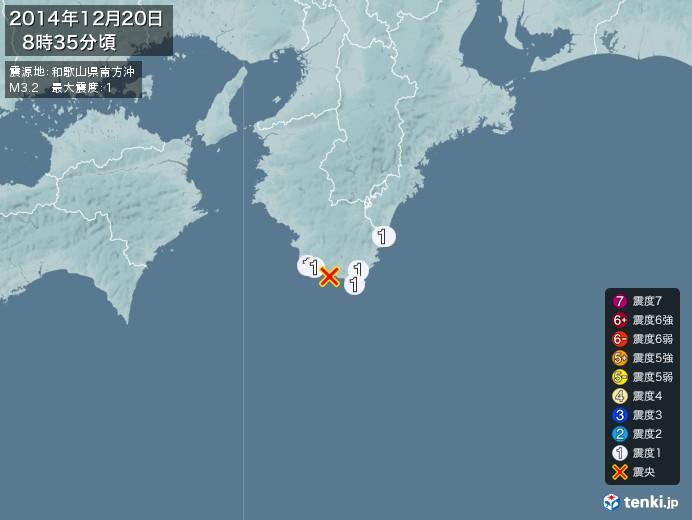 地震情報(2014年12月20日08時35分発生)