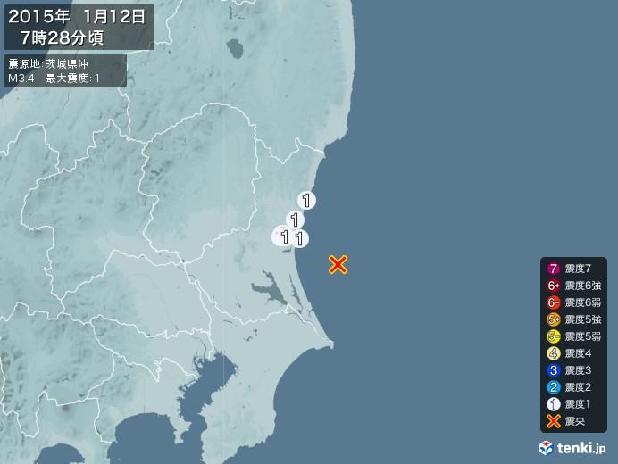 地震情報(2015年01月12日07時28分発生)