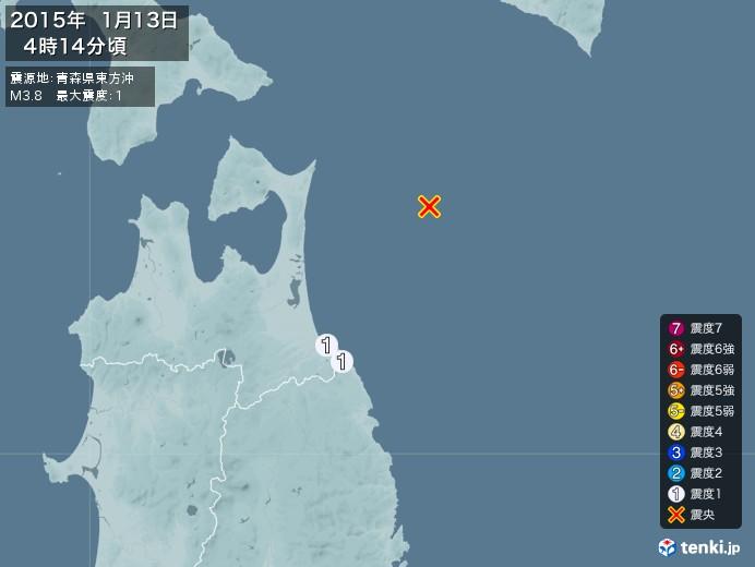 地震情報(2015年01月13日04時14分発生)