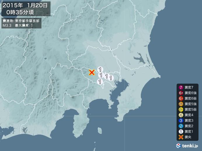 地震情報(2015年01月20日00時35分発生)