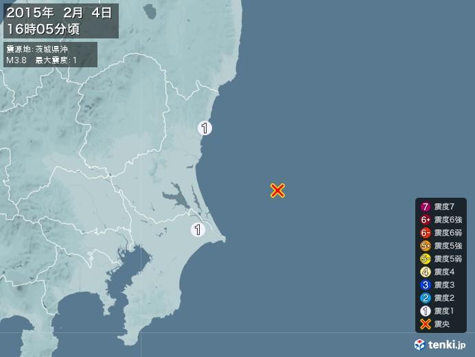 地震情報(2015年02月04日16時05分発生)
