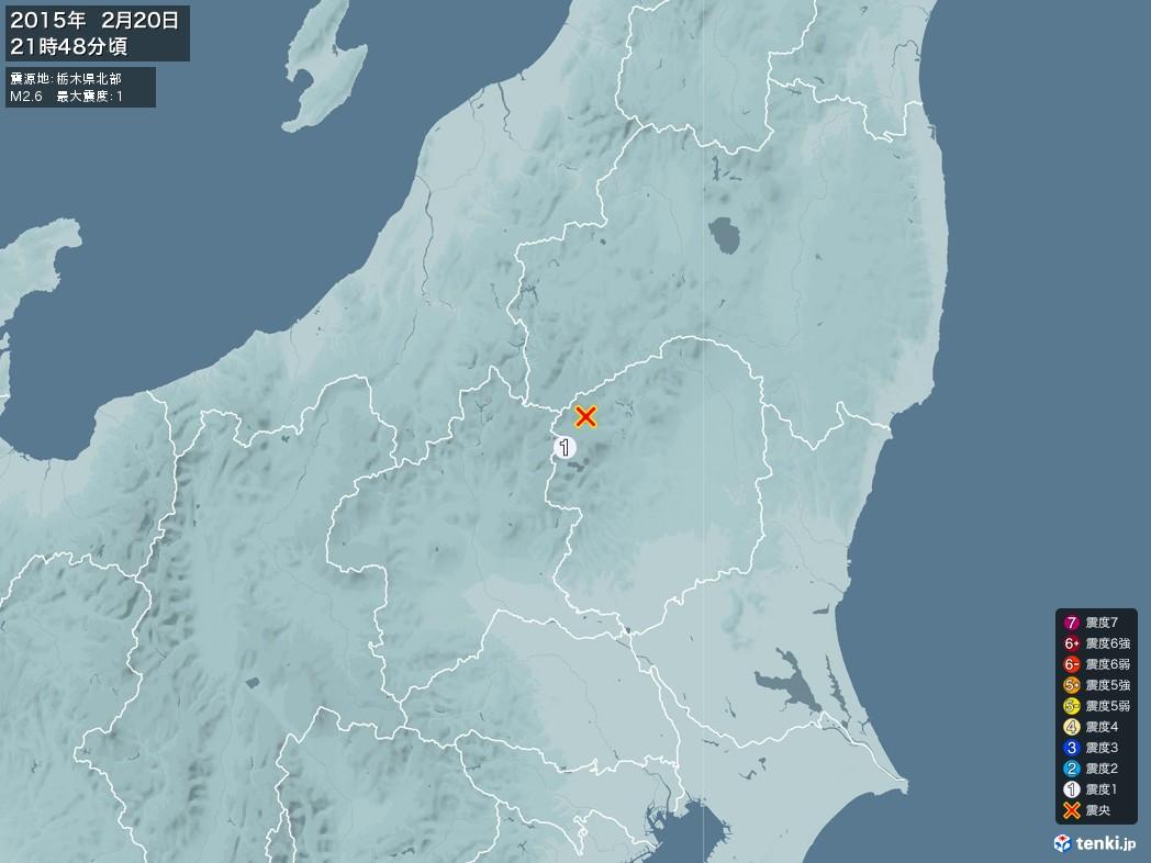 地震情報 2015年02月20日 21時48分頃発生 最大震度:1 震源地:栃木県北部(拡大画像)