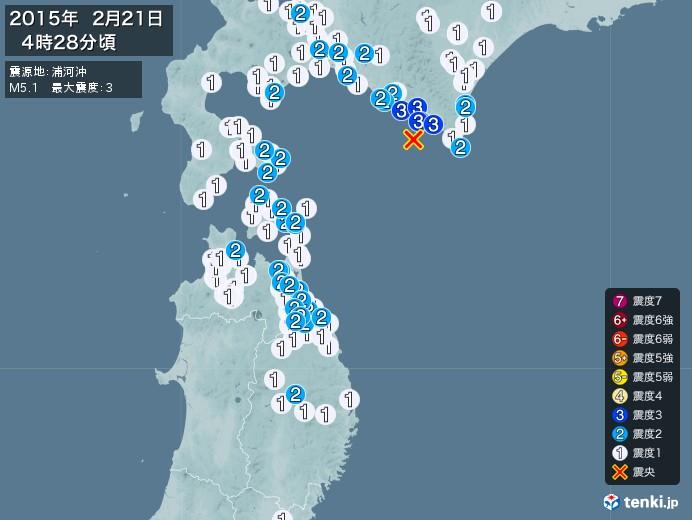 地震情報(2015年02月21日04時28分発生)