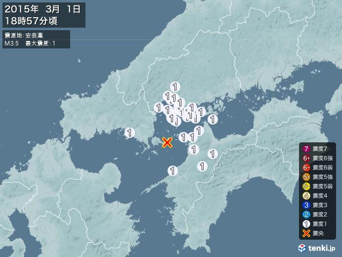 地震情報(2015年03月01日18時57分発生)