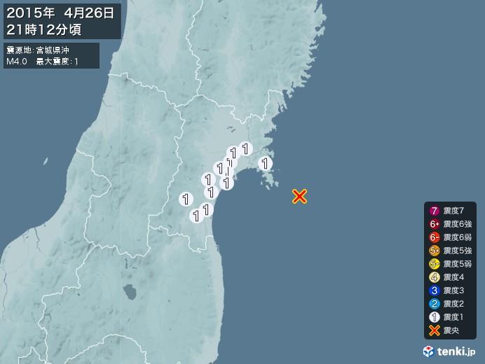 地震情報(2015年04月26日21時12分発生)