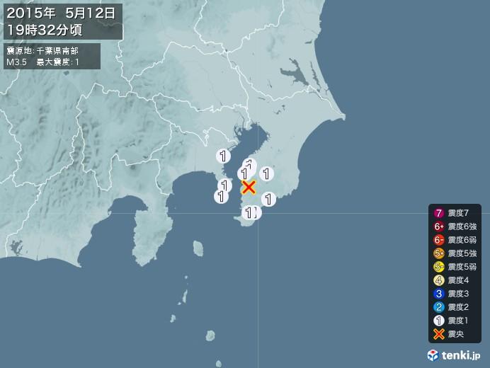 地震情報(2015年05月12日19時32分発生)