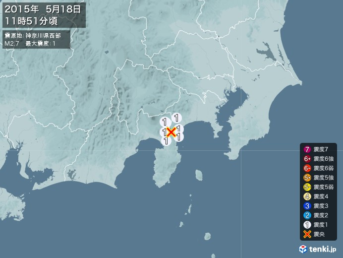 地震情報(2015年05月18日11時51分発生)