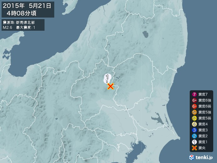 地震情報(2015年05月21日04時08分発生)