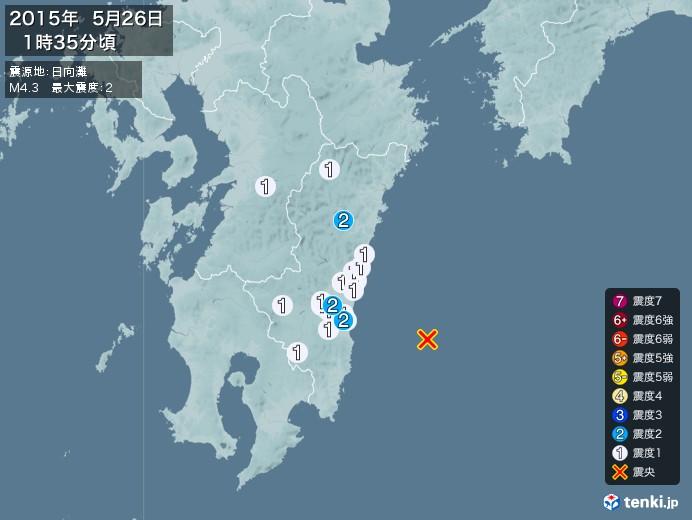 地震情報(2015年05月26日01時35分発生)