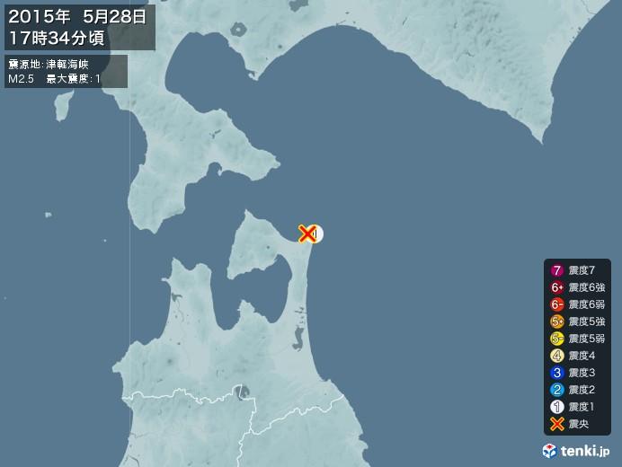 地震情報(2015年05月28日17時34分発生)
