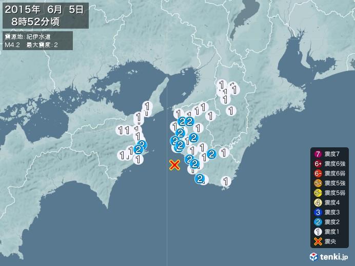 地震情報(2015年06月05日08時52分発生)