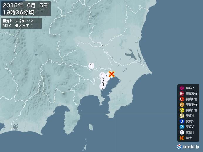 地震情報(2015年06月05日19時36分発生)